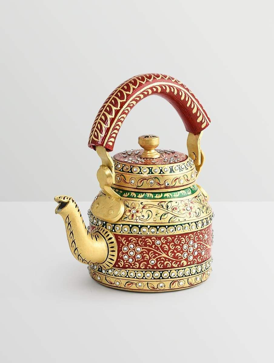 Painted Teapots Handpainted Kaushalam Multi Color Diamond Teapot in Aluminium (1000ml)