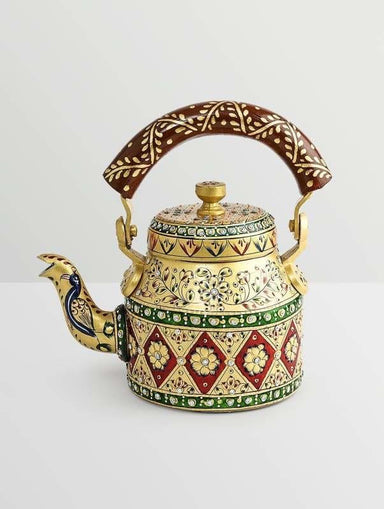 Painted Teapots Handpainted Kaushalam Royal Jaipur Teapot in Aluminium Yellow
