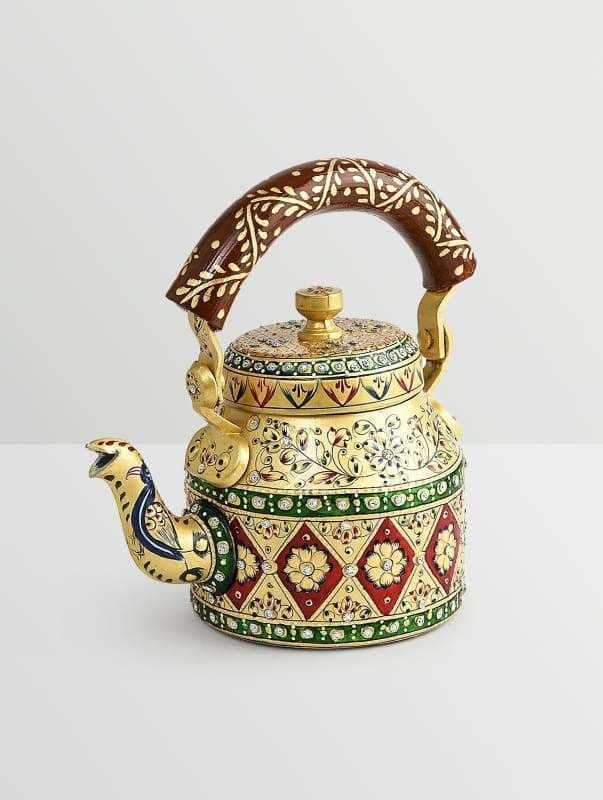 Painted Teapots Handpainted Kaushalam Royal Jaipur Teapot in Stainless Steel Yellow (500ml) - by Mrinalika Jain