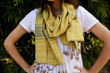 Scarves Handwoven Indian Eri Silk Natural Dye Scarf Prism
