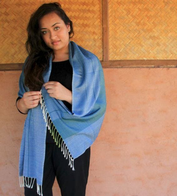 Scarves Handwoven Scarf Diamond Weave Blue