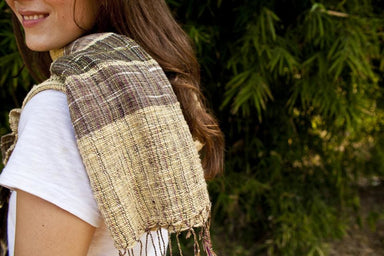 Scarves Handwoven Thai Eri Silk Scarf Natural Dye Prism