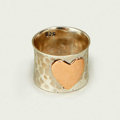 Rings Heart Shape Plain Silver Band Vintage Ring