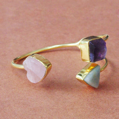 Heart Shape Rose Quartz Amethyst And Aquamarine Gemstone Stunning Cuff Bracelet - by Bhagat Jewels