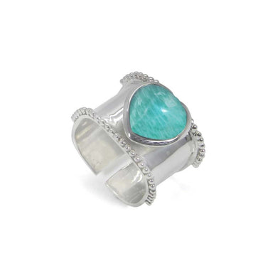 Rings Heart Shaped Amazonite 925Sterling Silver Wrap Adjustable Ring