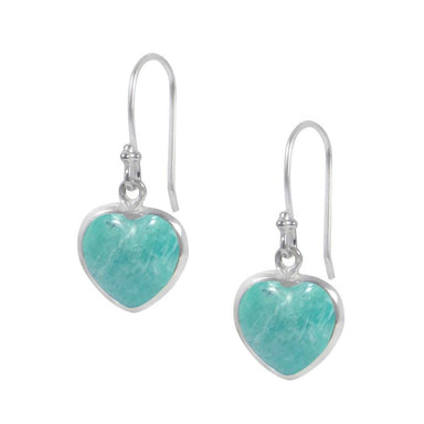 Earrings Heart Shaped Amazonite Dangle Fashion Jewelry