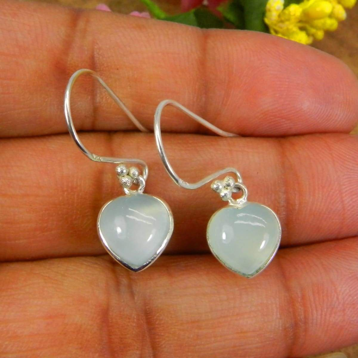 Earrings Heart Shaped Aqua Chalcedony 925 Sterling Silver Dangle