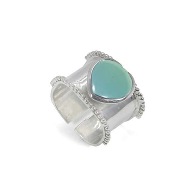 Rings Heart Shaped Aqua Chalcedony 925 Sterling Silver Wrap Adjustable Ring