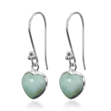 Earrings Heart Shaped Blue Larimar Gemstone 925 Sterling Silver Dangle