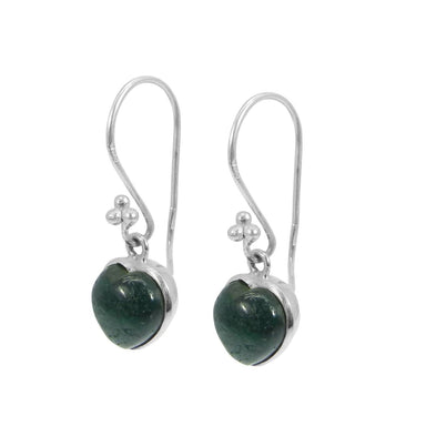 Earrings Heart Shaped Emerald Corundum Stone 925Sterling Silver Dangle Earring