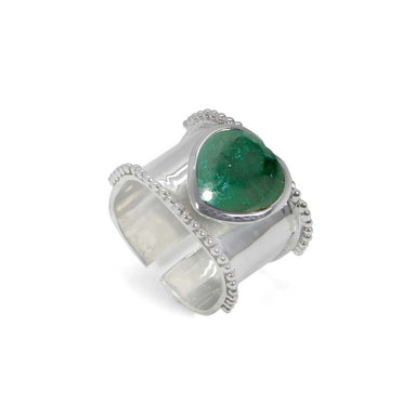 Rings Heart Shaped Emerald Gemstone 925 Sterling Silver Wrap Adjustable Ring