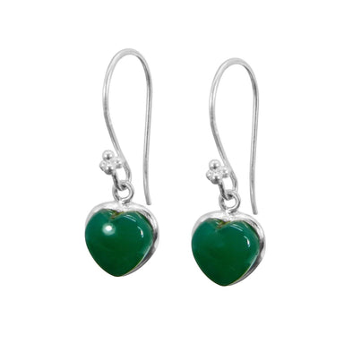 Earrings Heart Shaped Green Onyx 925 Sterling Silver Dangle - by Nehal Jewelry
