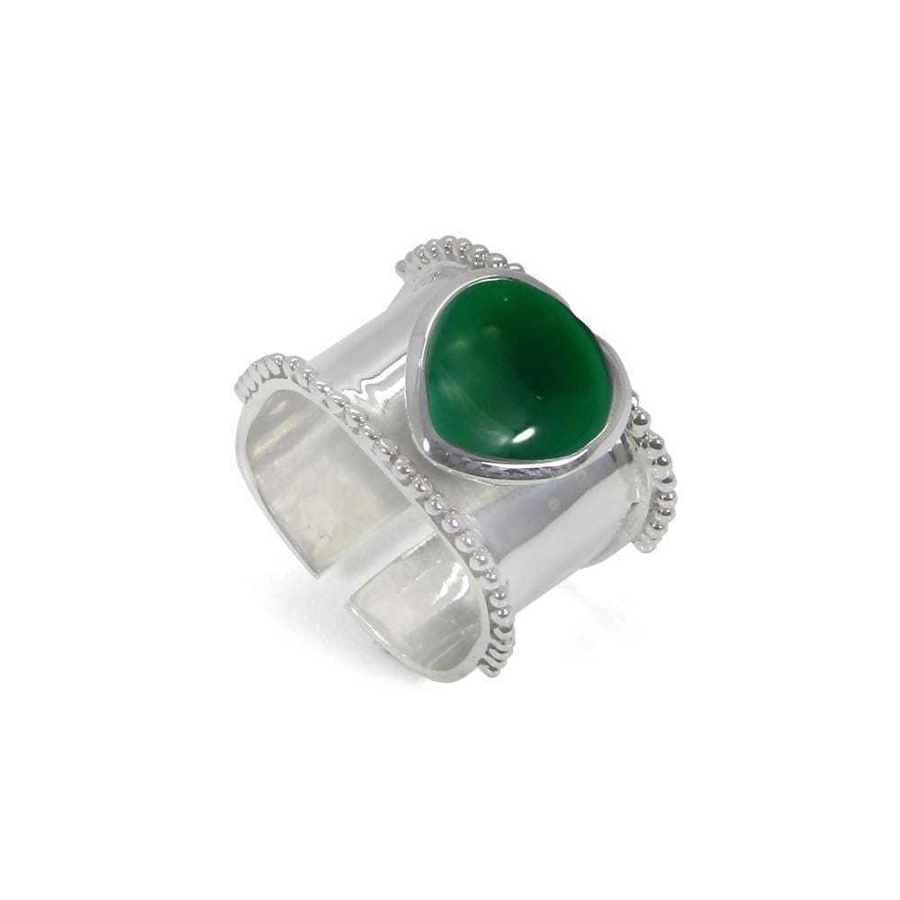 Rings Heart Shaped Green Onyx 925 Sterling Silver Wrap Adjustable Ring