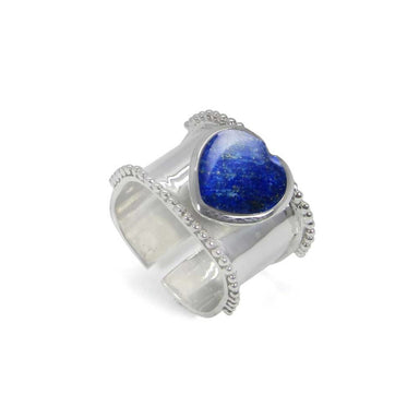 Rings Heart Shaped Lapis lazuli 925 Sterling Silver Wrap Adjustable Ring