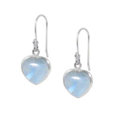 Earrings Heart Shaped Rainbow Moonstone 925 Sterling Silver Dangle