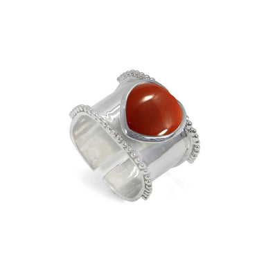 Rings Heart Shaped Red Onyx 925 Sterling Silver Wrap Adjustable Ring