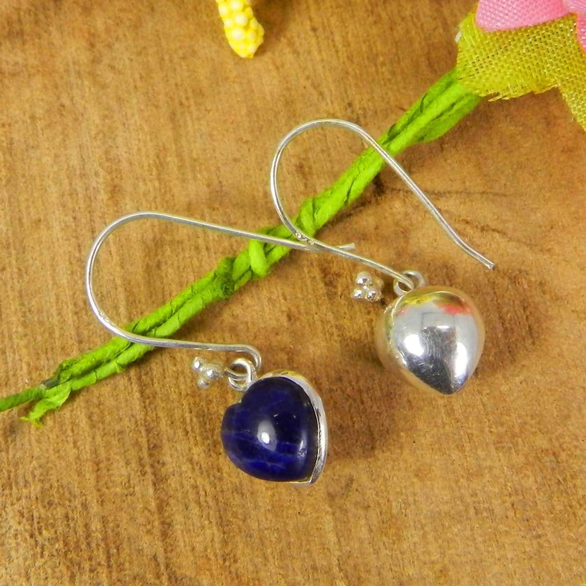 Earrings Heart Shaped Sodalite 925 Sterling Silver Dangle
