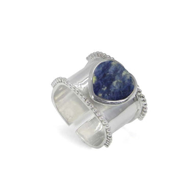 Rings Heart Shaped Sodalite 925 Sterling Silver Wrap Adjustable Ring