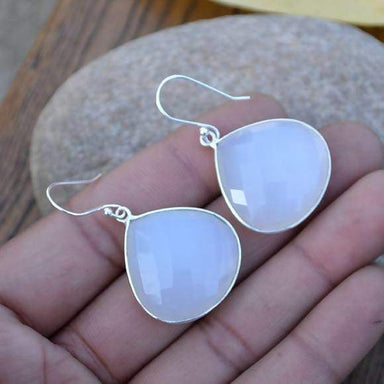 Earrings Heart White Chalcedony Dangle Gemstone Love Gift Drops Briolette Wedding Sterling Silver
