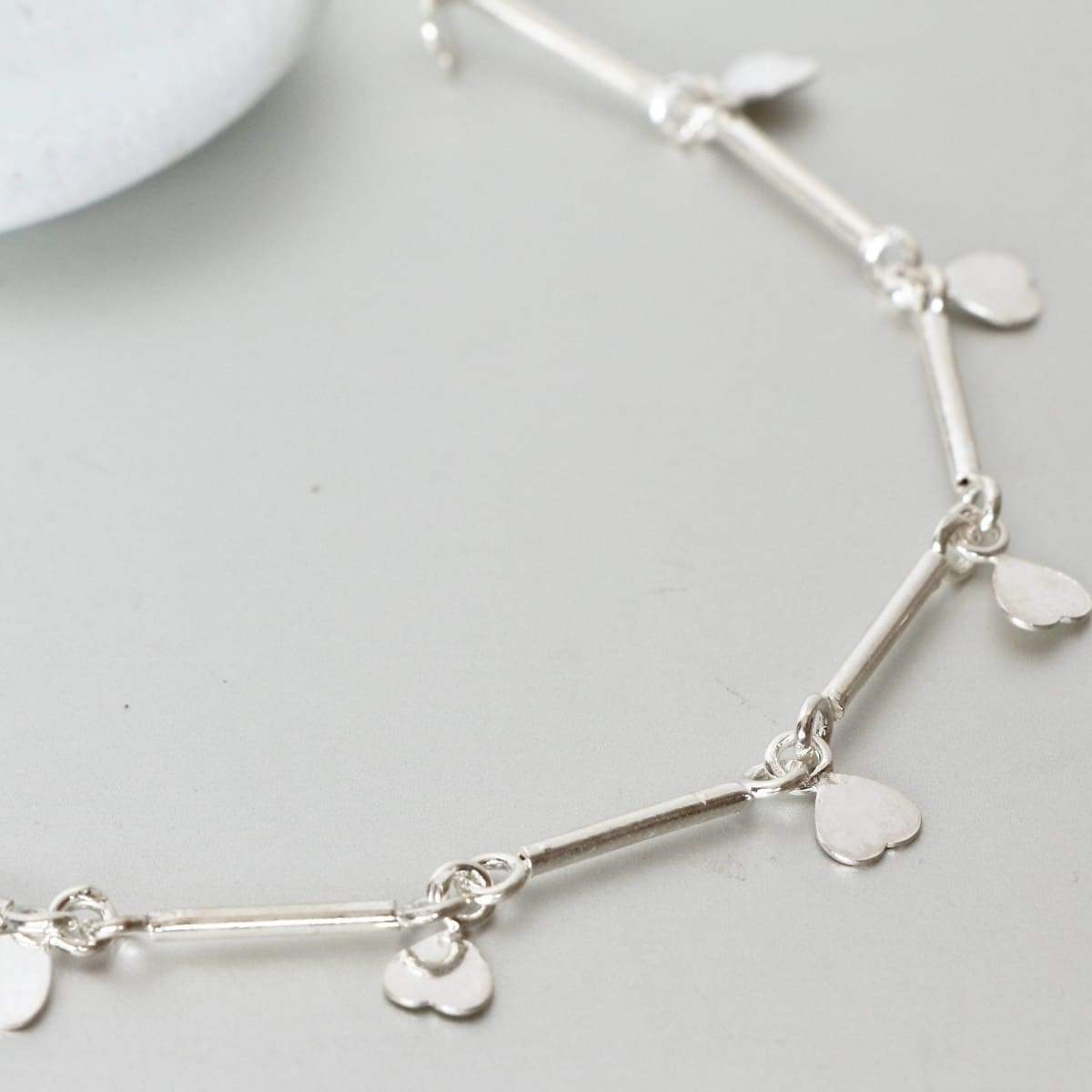 Anklets Hearts Charm Anklet Silver Tube Links Chain Gypsy Style Minimalist Delicate Jewelry Simple Beach Wear,Bohemian (AS80)