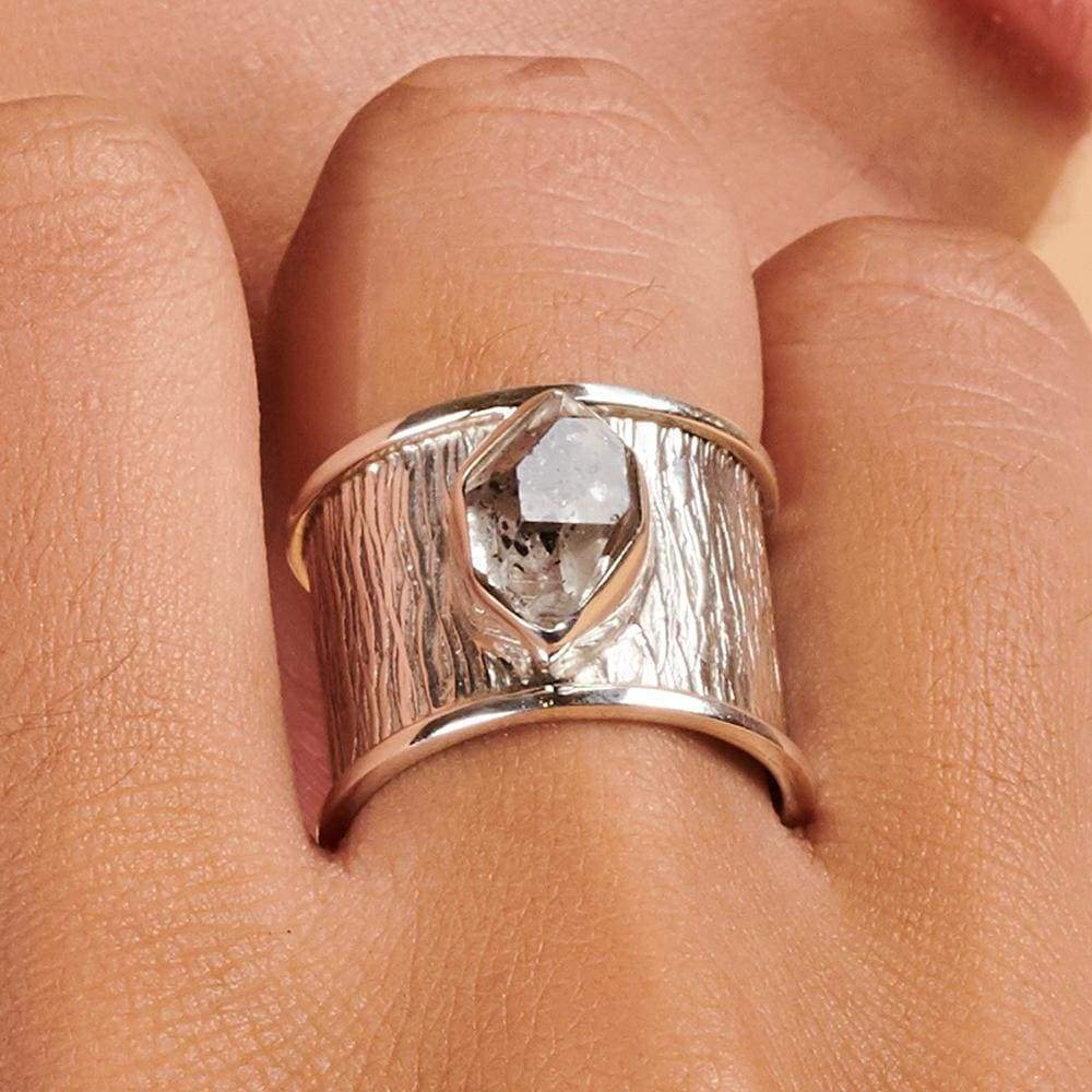 Rings Herkimer Diamond Gemstone 925 Sterling Silver Ring Fashion Handmade Jewelry Gift - by Adorable Craft