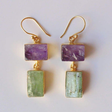 High Quality 18K Gold Plated Raw Amethyst And Kyanite Gemstone Hook Earrings
