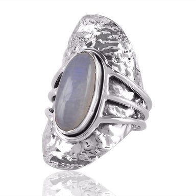 Rings High Quality Real Rainbow Moonstone Boho Design Sterling Silver Ring