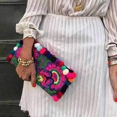 Hmong Multicolored Lou Lou Clutch with Pom Poms - Clutches