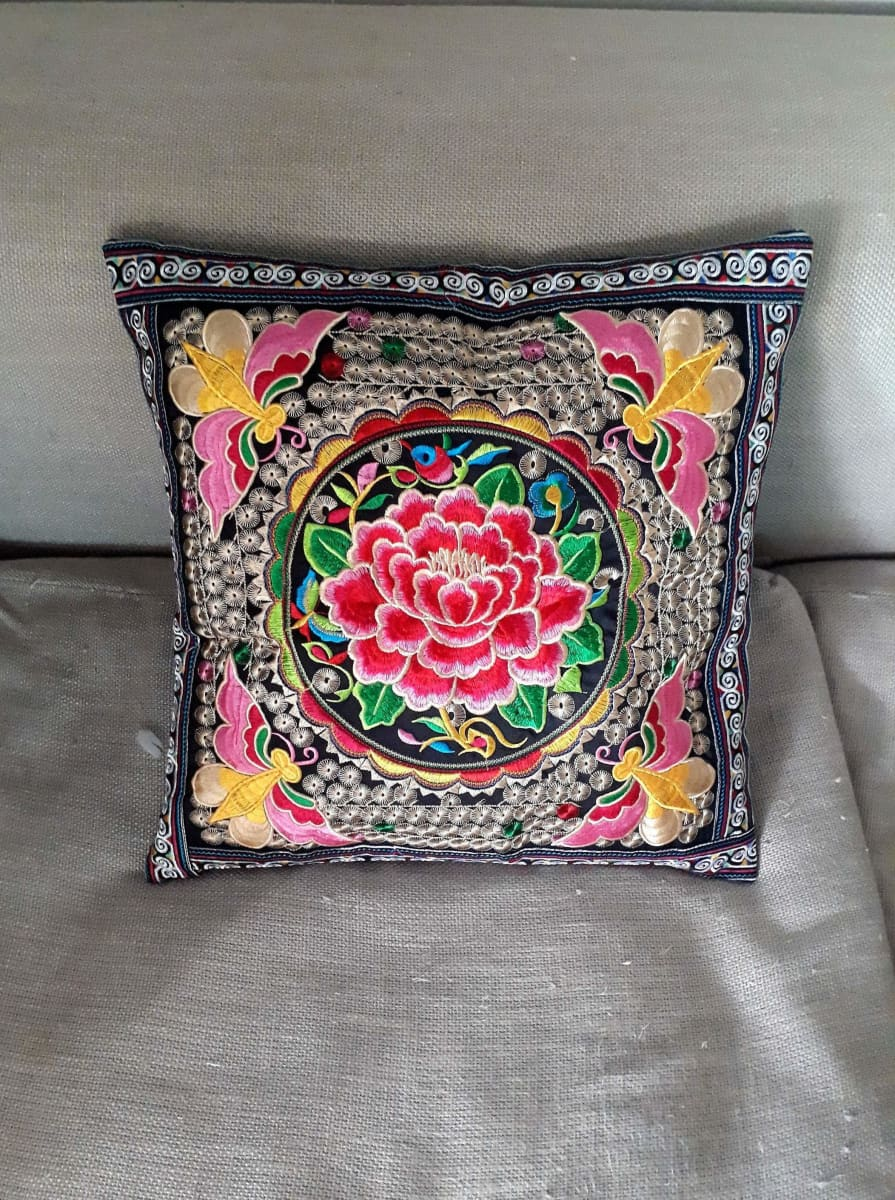 Hmong Thai Embroidered Hobo Boho Cushion Pillow Cover - by lannathaicreations