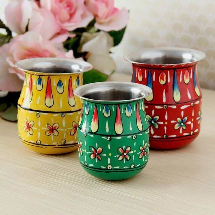 Set of 3 Handpainted Pots in Steel - Title - Home Decor