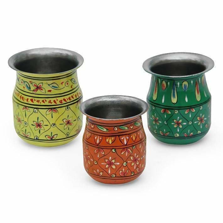Set of 3 Handpainted Pots in Steel - Home Decor
