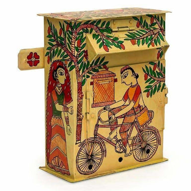 Yellow hand Painted Mailbox in Madhubani Art Design - Home Decor