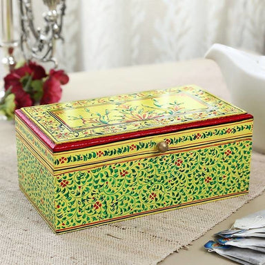 Home Decor Yellow Hand Painted Multi Purpose Box in Wood