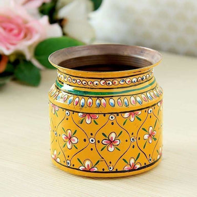 Yellow Hand Painted Pot in Copper - Title - Home Decor