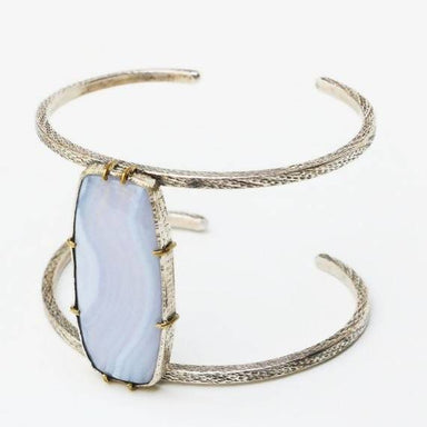 Bracelets Huge blue agate bangle bracelet with double silver and gemstone set in brass setting