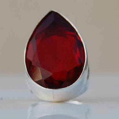 Rings Huge Garnet quartz Gemstone 925 Sterling Silver Ring Handmade Artisan Jewelry Birthstone Red Men's