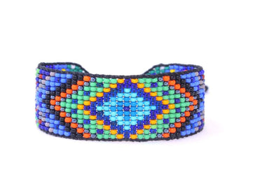 Bracelets Huichol Inspired Beaded Diamond Blue Center Mandala Bracelet