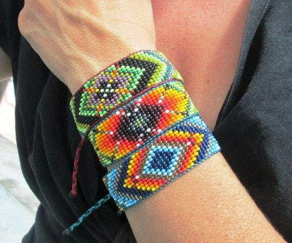 Bracelets Huichol Inspired Beaded Geometric Mandala Bracelet Dark and Golden Center