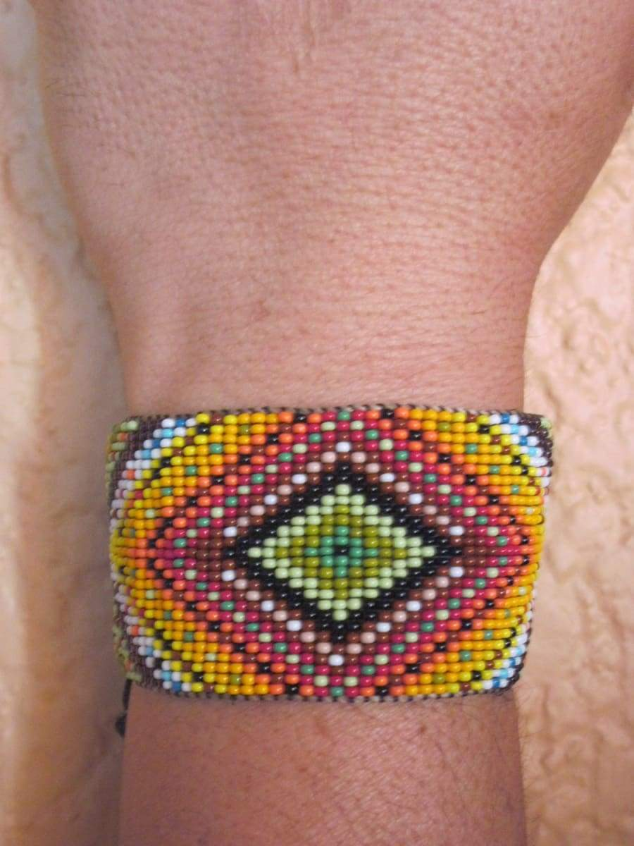 Bracelets Huichol Inspired Rainbow Ojo de Dios Beaded Eye of God Statement Bracelet