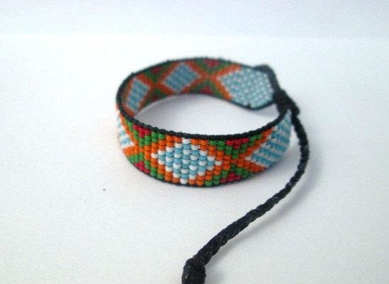 Earrings Huichol Native American Inspired Multi-Colored Beaded Friendship Bracele