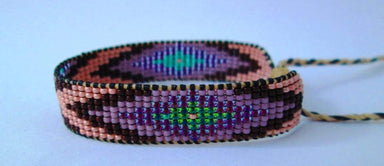 Bracelets Huichol Native American Inspired Multi-Colored Pink Brown Lavender Beaded Friendship Bracelet