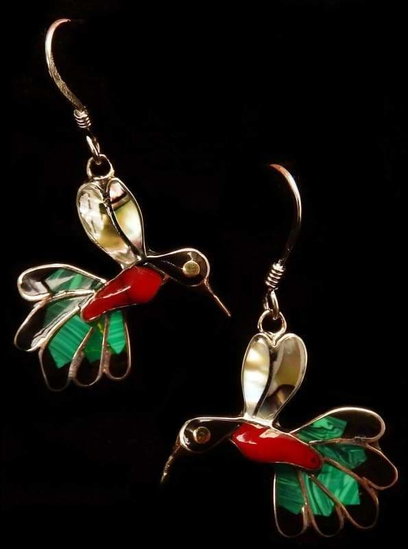 earrings Humming Bird Earrings with Abalone Shell - by Artesanas Campesinas