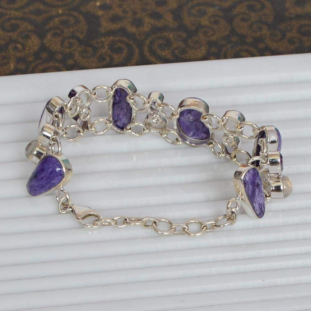 Bracelets Indian Artisans Real Purple Amethyst Charoite Pearl And Rainbow Moonstone Handmade Sterling Silver Bracelet
