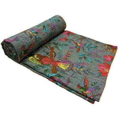 Indian Handmade King Size Kantha Quilt Throw Reversible Bedspread Vintage Cotton - Twin/Single - 60 X 90 Inch 150 220 CM Approx by