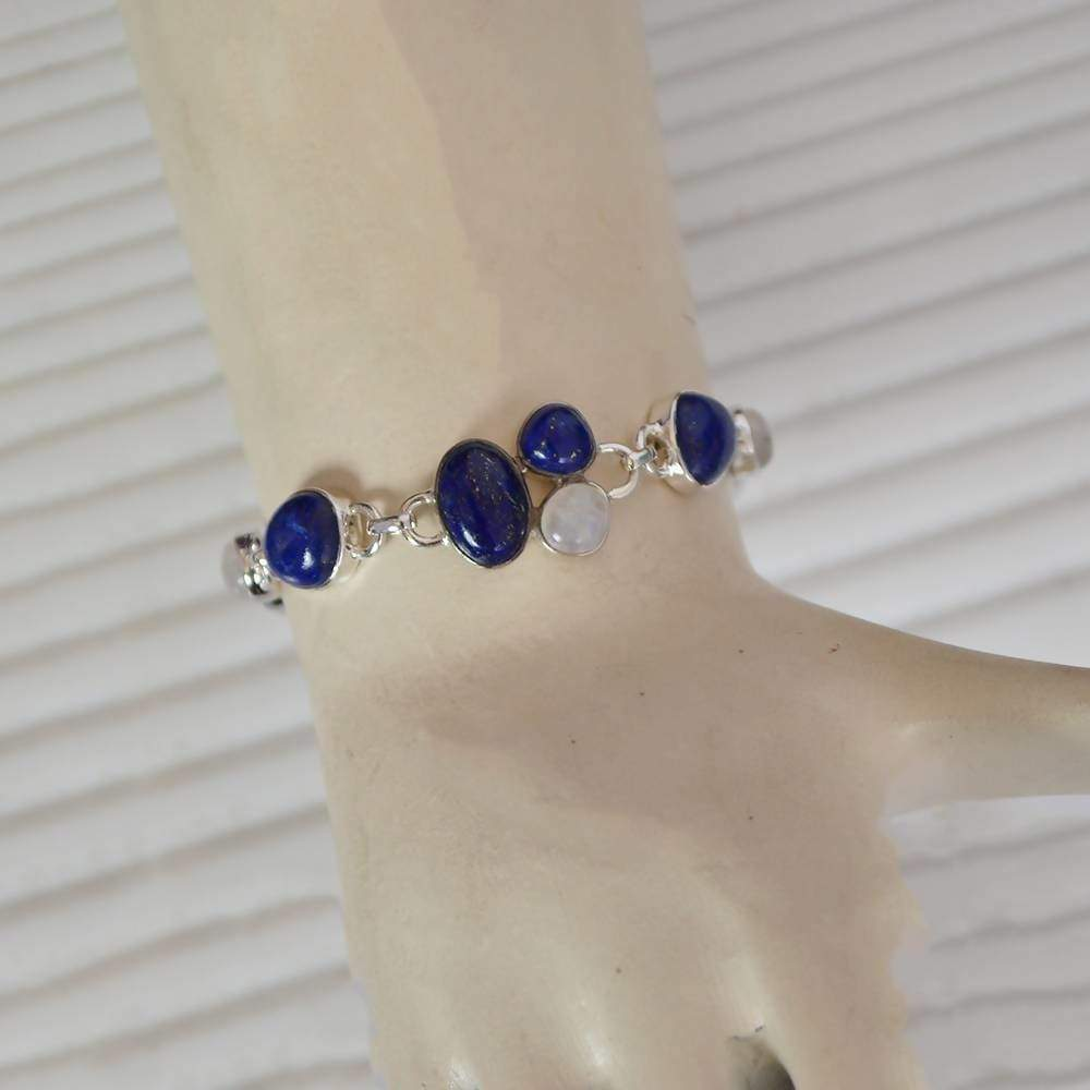 Bracelets Indian Handmade Natural Lapis And Rainbow Moonstone Bracelet 925 Sterling Silver Two Stone