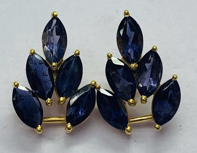 Earrings Iolite Marquees Shape Stone Stud Earring Sterling Silver Gold Plated - by TJ GEMS
