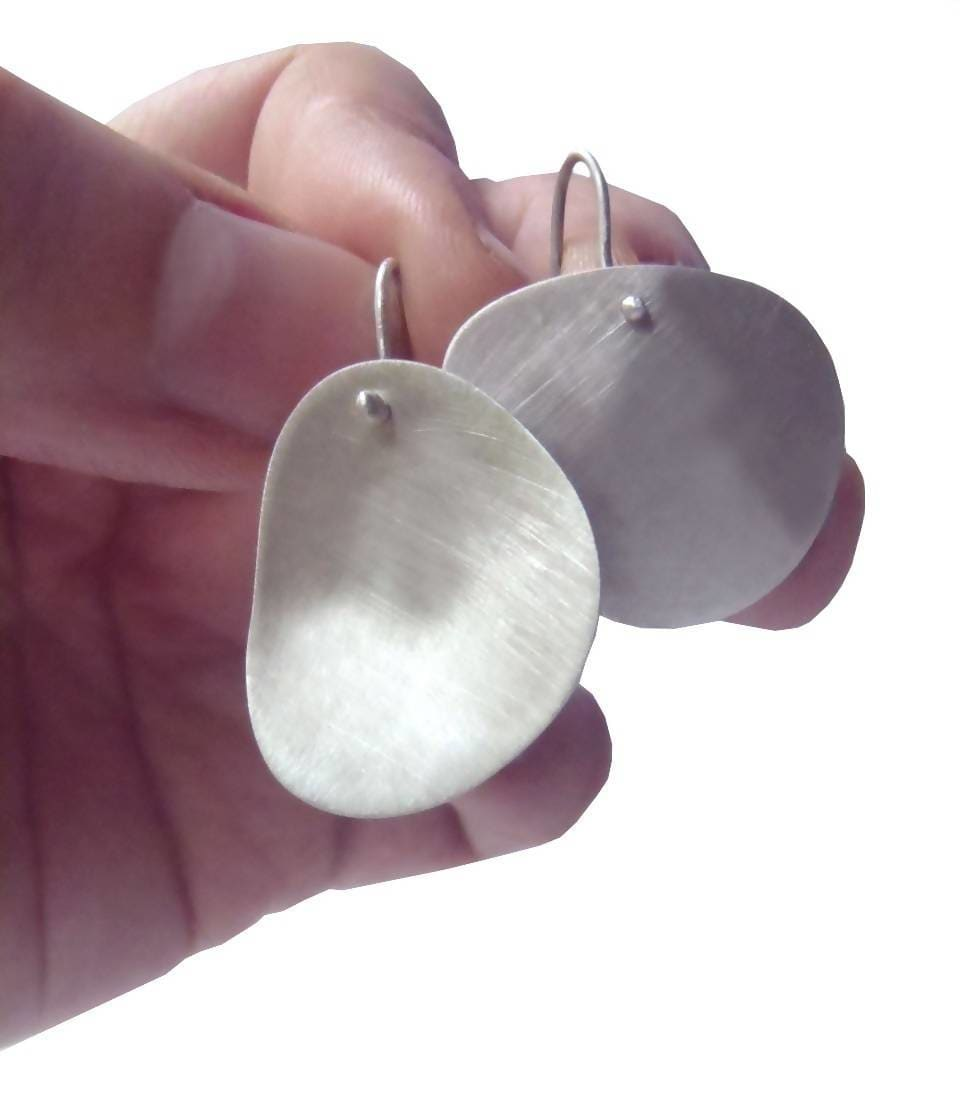 Earrings Irregular mismatched earrings minimal design long or short hook in brushed sterling - by dikua