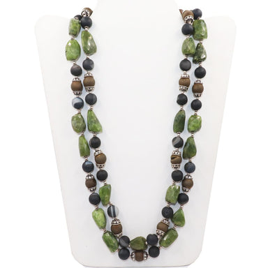 Jade & Black Golden Beads 925 Sterling Silver Handmade Double Strands Beaded Necklace - by Vidita Jewels