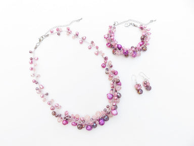 Jewelry set - Purple freshwater pearl necklace bracelet and earrings