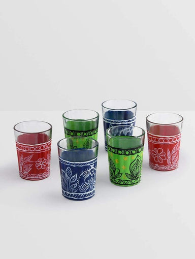 Kitchen & Dining KAUSHALAM HAND PAINTED TEA GLASS SET OF 6